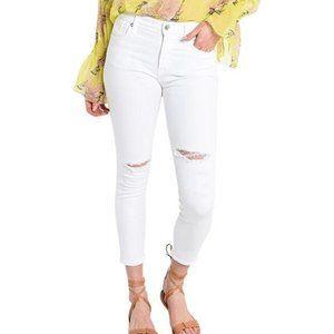 Agolde Sophie Hi Rise Skinny Crop Jeans, White -29